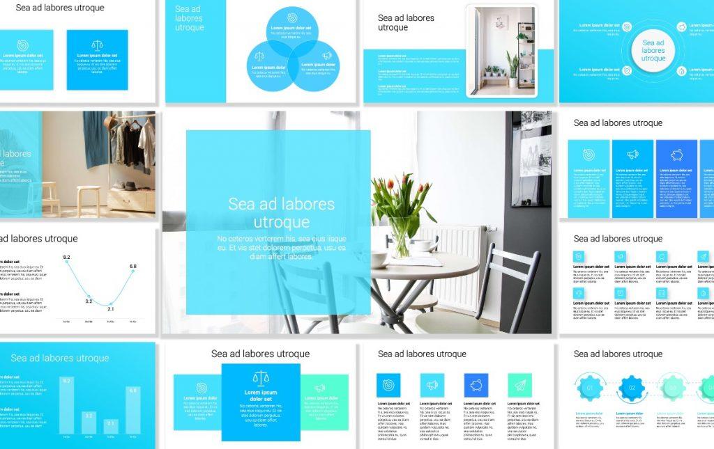 Toronto Minimal Bright BLue PowerPoint Template