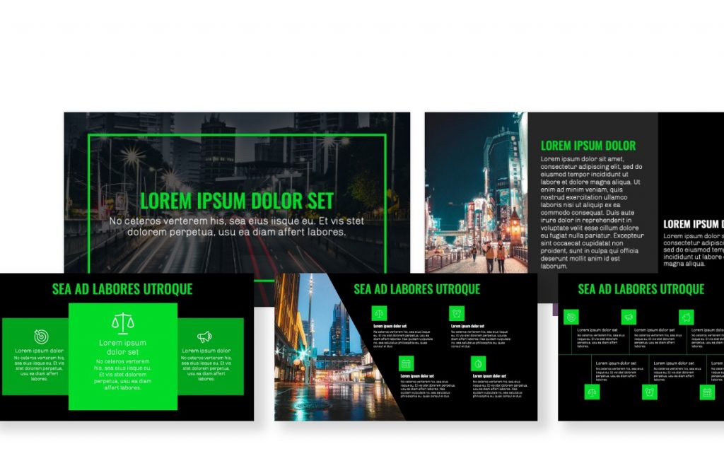 OSLO PROFESSIONAL NAVY & GREEN FREE POWERPOINT TEMPLATE