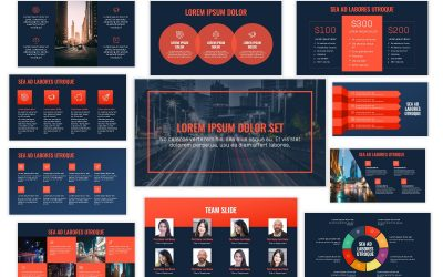 OSLO PROFESSIONAL NAVY AND CORAL FREE POWERPOINT TEMPLATE