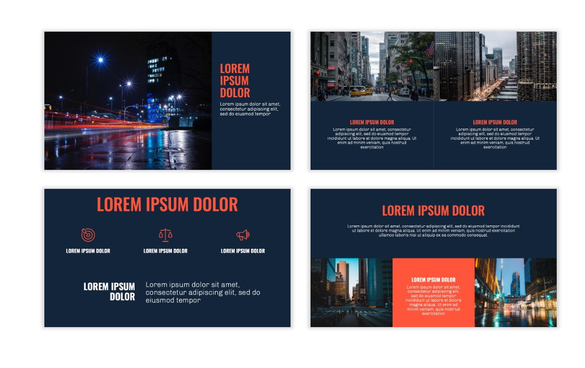 OSLO - Minimal - Dark Navy & Coral - Business - Professional - Aesthetic - Clean - Minimal Slide6