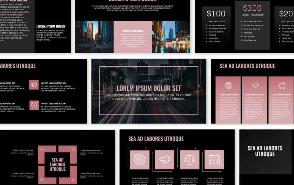 OSLO PROFESSIONAL DARK PALE PINK FREE POWERPOINT TEMPLATE