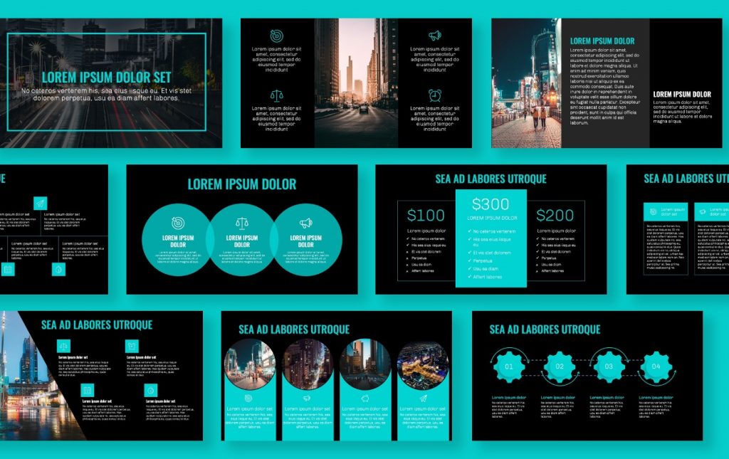 OSLO PROFESSIONAL DARK TEAL FREE POWERPOINT TEMPLATE