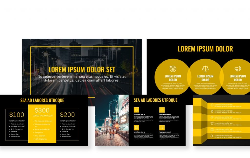 OSLO PROFESSIONAL DARK YELLOW FREE POWERPOINT TEMPLATE