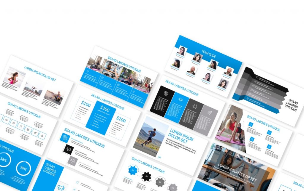 ROME BLUE FITNESS FREE POWERPOINT TEMPLATE