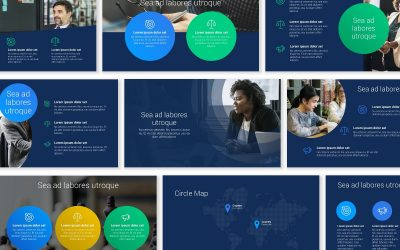 LONDON CIRCLES BRIGHT NAVY PROFESSIONAL POWERPOINT TEMPLATE