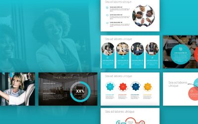LONDON CIRCLES TEAL AND ORANGE PROFESSIONAL POWERPOINT TEMPLATE